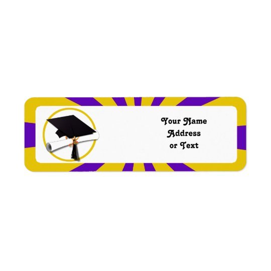 Grad Cap & Diploma - Purple and Gold School Return Address Label