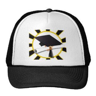 Grad Cap & Diploma w/School Colors Black and Gold