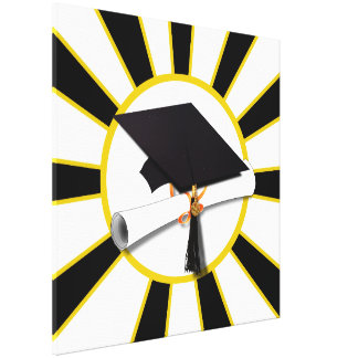 Grad Cap & Diploma w/School Colors Black and Gold Canvas Prints