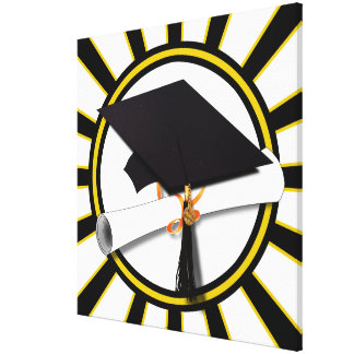 Grad Cap & Diploma w/School Colors Black and Gold Gallery Wrap Canvas