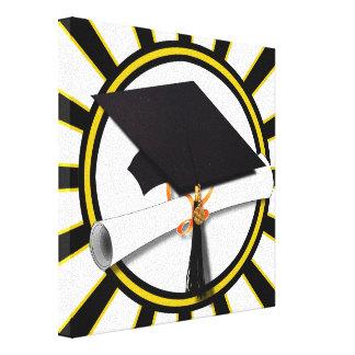 Grad Cap & Diploma w/School Colors Black and Gold Stretched Canvas Prints