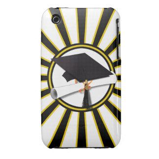 Grad Cap Diploma w School Colors Black and Gold iPhone 3 Case-Mate Cases