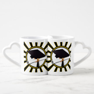 Grad Cap & Diploma w/School Colors Black and Gold Coffee Mug Set