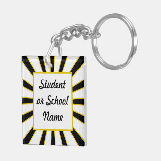 Grad Cap Diploma w School Colors Black and Gold Square Acrylic Key Chain