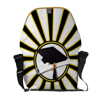 Grad Cap Diploma w School Colors Black and Gold Courier Bags