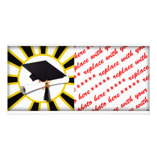 Grad Cap & Diploma w/School Colors Black and Gold Photo Card Template