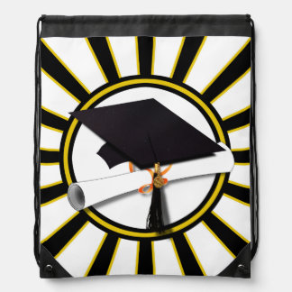 Grad Cap Diploma w School Colors Black and Gold Drawstring Backpack