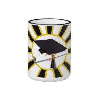 Grad Cap & Diploma w/School Colors Black and Gold Ringer Mug