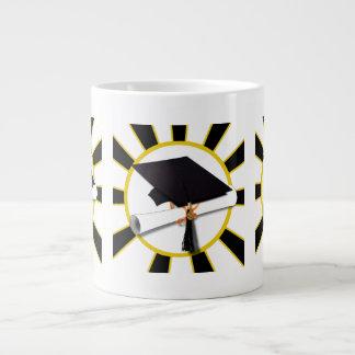 Grad Cap Diploma w School Colors Black and Gold Jumbo Mugs