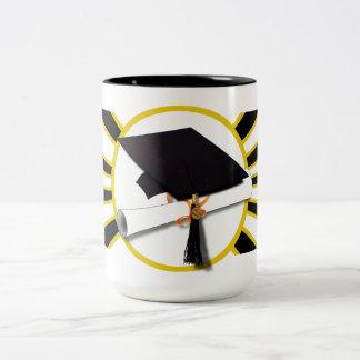 Grad Cap & Diploma w/School Colors Black and Gold Two-Tone Mug