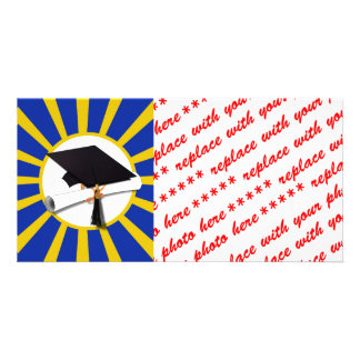 Grad Cap & Diploma w/ School Colors Blue and Gold Customized Photo Card