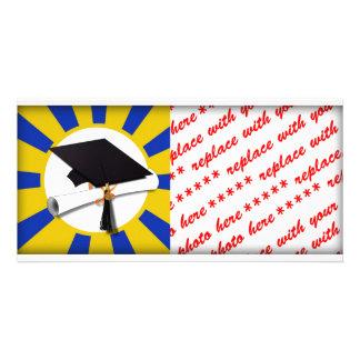 Grad Cap & Diploma w/ School Colors Blue and Gold Photo Card