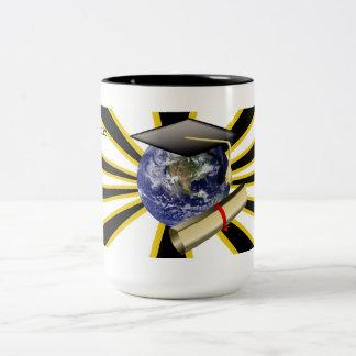 Grad Cap on Earth w/Diploma ~ ZOOMin' ~ Two-Tone Coffee Mug