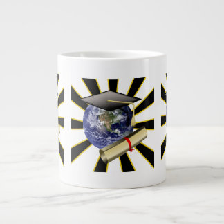 Grad Cap on Earth w Diploma ZOOMin Extra Large Mug