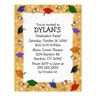 Grad cap theme graduation party flyer invitations