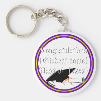 Grad Cap Tilt & Diploma  w/ Colors Purple & Gold Basic Round Button Key Ring