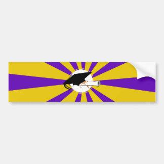 Grad Cap Tilt & Diploma  w/ Colors Purple & Gold Bumper Sticker