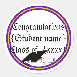 Grad Cap Tilt & Diploma  w/ Colors Purple & Gold Classic Round Sticker