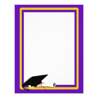 Grad Cap Tilt & Diploma  w/ Colors Purple & Gold 21.5 Cm X 28 Cm Flyer