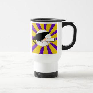 Grad Cap Tilt & Diploma  w/ Colors Purple & Gold Coffee Mugs