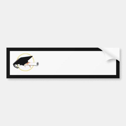 Grad Cap Tilt on Black Background Bumper Stickers