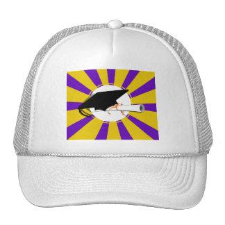 Grad Cap Tilt w/ Diploma & Purple & Gold Colors Trucker Hat