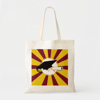 Grad Cap Tilt w/ Diploma & Red & Gold School Color Budget Tote Bag