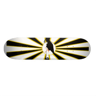 Grad Cap Tilt w/ School Colors Black and Gold Custom Skateboard