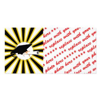 Grad Cap Tilt w/ School Colors Black and Gold Customized Photo Card