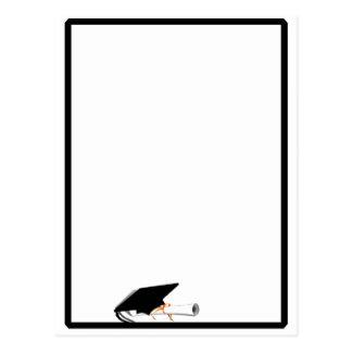 Grad Cap Tilt w/ School Colors Black and White Postcard