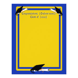 Grad Cap Tilt w/ School Colors Blue And Gold 21.5 Cm X 28 Cm Flyer