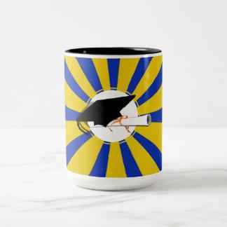 Grad Cap Tilt w School Colors Blue And Gold Mug