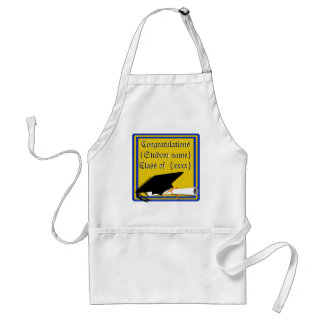 Grad Cap Tilt w/ School Colors Blue And Gold Standard Apron
