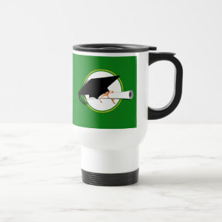 Grad Cap Tilt w School Colors Green and Gold Coffee Mugs