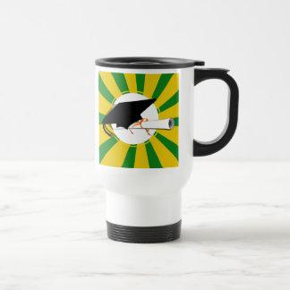 Grad Cap Tilt w/ School Colors Green and Gold Travel Mug