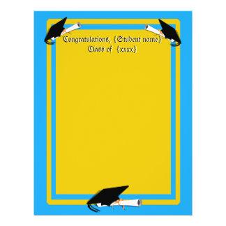 Grad Cap Tilt w/ School Colors Lt Blue And Gold 21.5 Cm X 28 Cm Flyer
