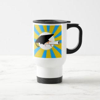 Grad Cap Tilt w/ School Colors Lt Blue And Gold Coffee Mugs