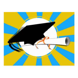 Grad Cap Tilt w/ School Colors Lt Blue And Gold Postcard