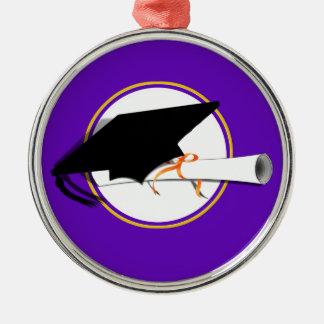 Grad Cap Tilt w/ School Colors Purple And Gold Christmas Ornament