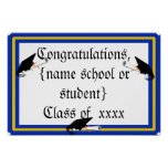 Grad Cap Tilt w/ School Colours Blue And Gold