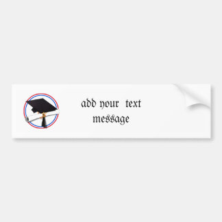 Grad Cap w/Diploma - Red & Blue School Colors Bumper Sticker