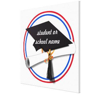 Grad Cap w/Diploma - Red & Blue School Colors Stretched Canvas Print