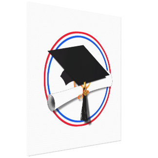 Grad Cap w/Diploma - Red & Blue School Colors Gallery Wrapped Canvas