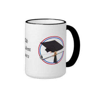 Grad Cap w/Diploma - Red & Blue School Colors Ringer Coffee Mug