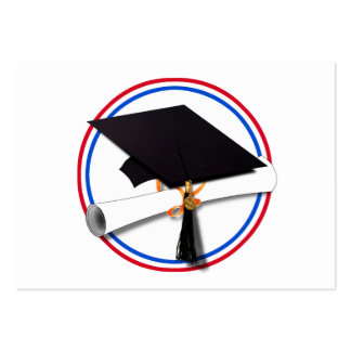Grad Cap w/Diploma - Red & Blue School Colors Pack Of Chubby Business Cards