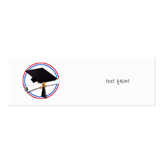 Grad Cap w/Diploma - Red & Blue School Colors Pack Of Skinny Business Cards