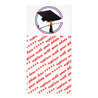 Grad Cap w/Diploma - Red & Blue School Colors Photo Card Template