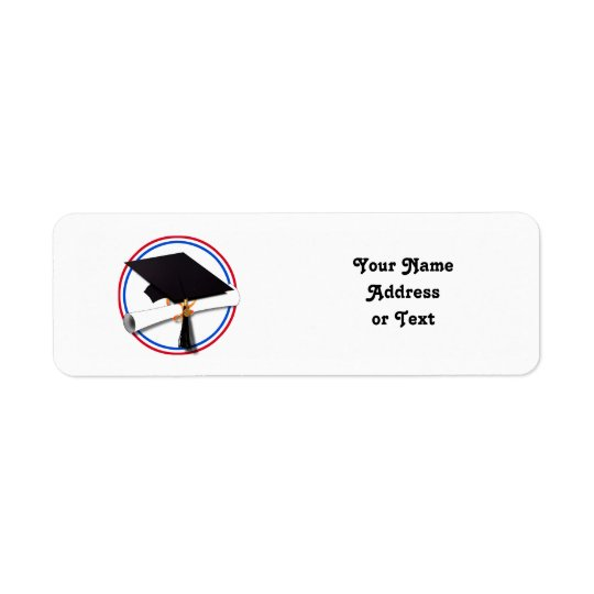Grad Cap w/Diploma - Red & Blue School Colours Return Address Label