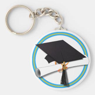 Grad Cap w/Diploma - School Colors Gold & Lt Blue Basic Round Button Key Ring
