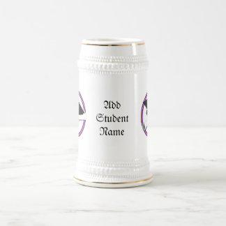 Grad Cap w/Diploma - School Colors Purple & Gold Beer Stein
